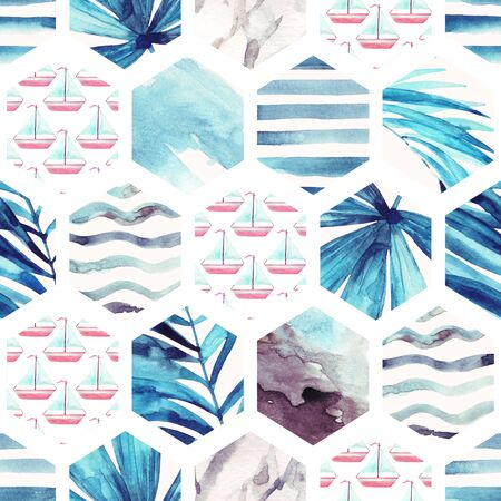 Abstract watercolor textured hexagon seamless pattern: sail boat pattern, tropical leaves, water color textures, waves, stripes. Geometric background in marine style. Hand painted beach illustration Stock Photo