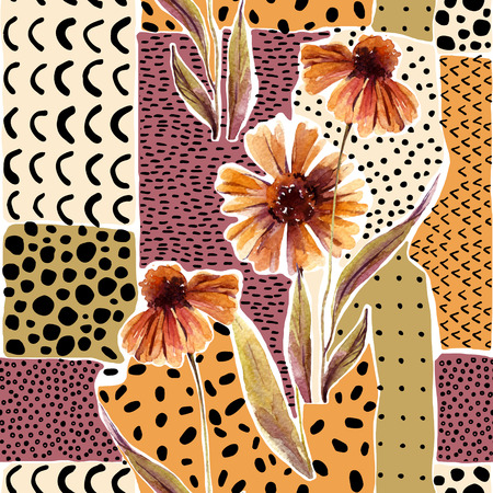 Autumn watercolor flowers on geometric background with doodles. Hand drawn dahlia flowers, with scribble textures for fall design. Watercolour art illustration Stock Photo