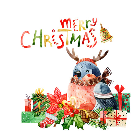 Cute bird with merry christmas congratulations. Watercolor cartoon illustration of bullfinch in a reindeer headband, scarf among gift boxes, christmas tree branches, poinsettia, mistletoe
