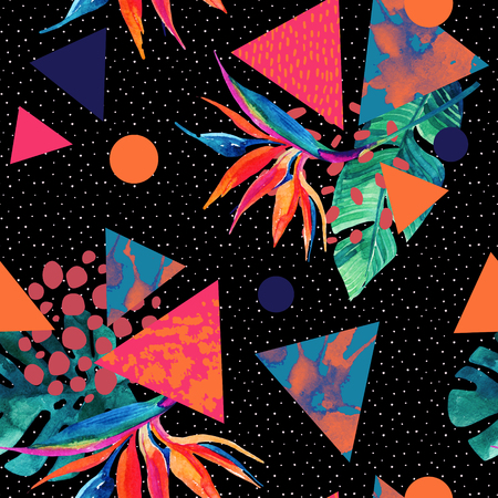 Abstract tropical summer design in minimal style. Watercolor exotic flowers, leaves, splatter grunge textures, doodles. Water color background with 80s or 90s elements. Hand painted illustration