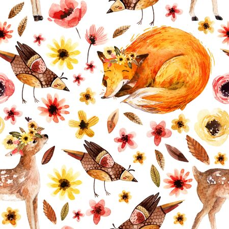 Cute watercolor on floral background. Detailed seamless pattern with little fawn, sleeping fox, birds, flowers, petals, leaves, natural elements. Hand painted illustration for nursery design Stock Photo