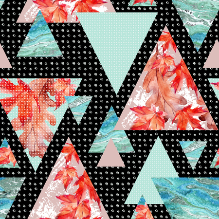 Abstract autumn geometric seamless pattern. Triangles with maple, oak leaves, marble, grunge textures. Abstract geometric background in retro vintage 80s 90s pop art. Hand drawn natural illustration