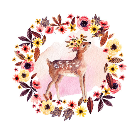 Watercolor deer fawn among flowers isolated on white background. Cute baby animal drawing in cartoon style. Hand painted illustration for children, kids design in autumn colors