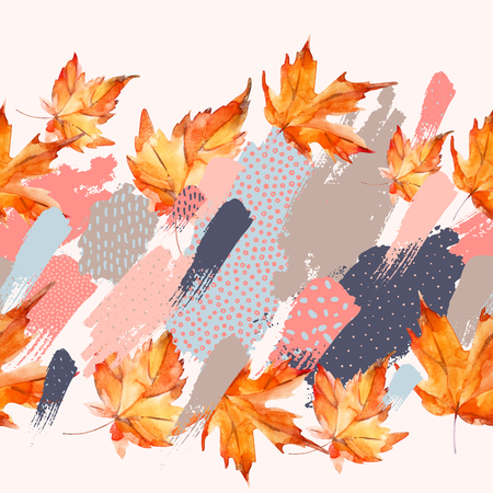 Autumn watercolor leaves on colorful splatter background with doodles. Hand drawn falling leaves, with scribble textures for fall design. Watercolour art illustration