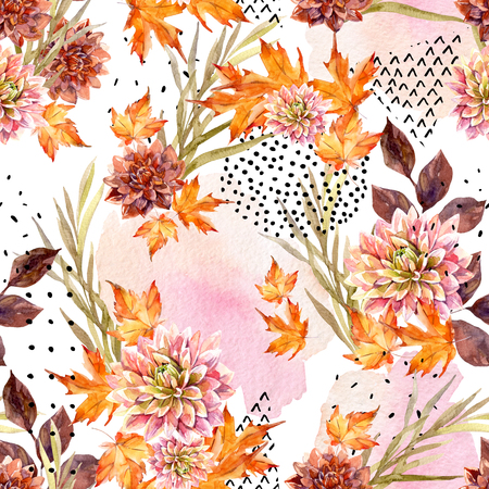 Autumn watercolor floral seamless pattern. Background with dahlia flowers, leaves, geometrical shapes filled with doodle texture. Hand drawn watercolour art illustration for fall design.