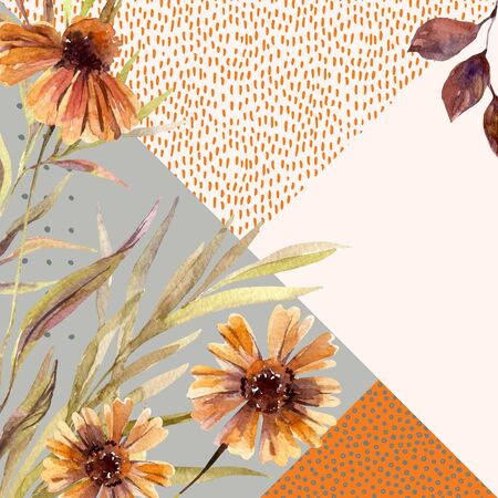 Autumn watercolor wreath on geometric background with flowers, leaves, doodles. Hand drawn dahlia flowers, falling leaf, triangles with scribble textures for fall design. Watercolour art illustration