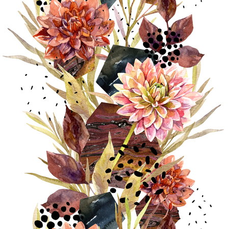 Autumn watercolor floral arrangement. Background with flowers, leaves, hexagon, circles filled with marbling texture. Hand drawn watercolour art illustration for fall design.