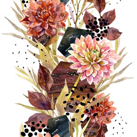 Arreglo floral acuarela de otoño. Fondo con flores, hojas, hexágono, círculos llenos de textura veteada. Mano dibuja la ilustración de arte de acuarela para el diseño de otoño. Foto de archivo - 87675293