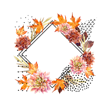 Autumn watercolor floral arrangement. Background with flowers, leaves, geometrical shapes filled with doodle texture. Hand drawn watercolour art illustration for fall design. Фото со стока - 87675294