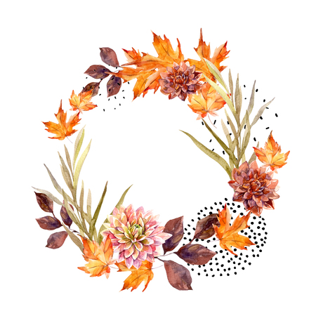 Autumn watercolor wreath on splash background with flowers, leaves, doted circles. Hand drawn falling leaf, doodle, water color, scribble textures for fall design. Watercolour art illustration Standard-Bild
