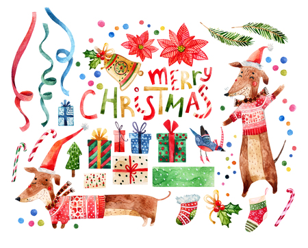 Cute animals set with merry christmas greetings isolated on white background. Watercolor cartoon illustration of hipster dog in sweater, scarf, the new year symbol Zdjęcie Seryjne