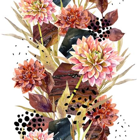 Arreglo floral acuarela de otoño. Fondo con flores, hojas, hexágono, círculos llenos de textura veteada. Mano dibuja la ilustración de arte de acuarela para el diseño de otoño. Foto de archivo - 88498337