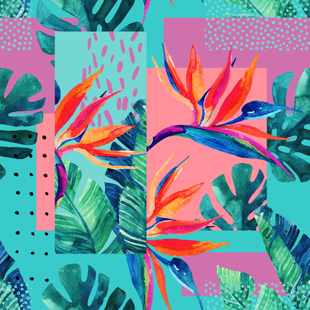 Abstract tropical summer design in minimal style. Watercolor exotic flowers, monstera leaves, grunge textures, doodles. Water color background with 80s or 90s elements. Hand painted illustration Фото со стока - 88498321