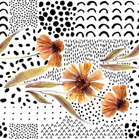 Autumn watercolor flowers on doodle background. Hand drawn dahlia flowers, with scribble textures for fall design. Watercolour art illustration Stock Photo