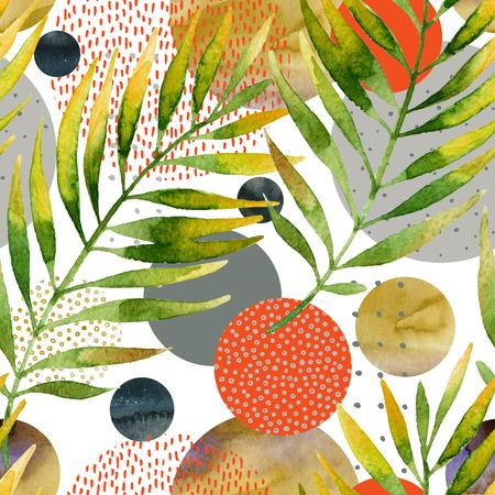 Resumen floral y geométrico de patrones sin fisuras. Acuarela tropical hojas, círculo formas llenas de acuarela, texturas mínimo garabato en el fondo. Ilustración de hoja de palma pintada a mano Foto de archivo - 89222567