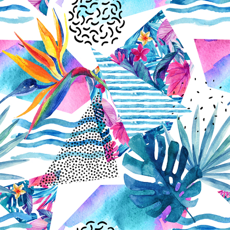 dash: Watercolor tropical flowers and leaves on background with doodles, lines, geometrical shapes. Hand drawn floral and geometric elements in minimal style. Watercolour art illustration