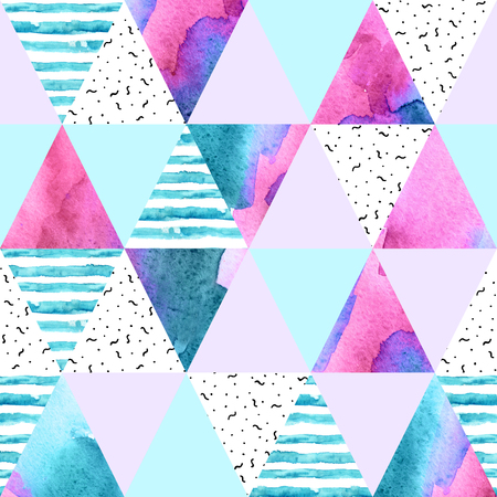 Abstract geometric watercolor seamless pattern. Triangles with watercolor paper textures. Geometrical background in light colors. Hand painted art illustration Foto de archivo