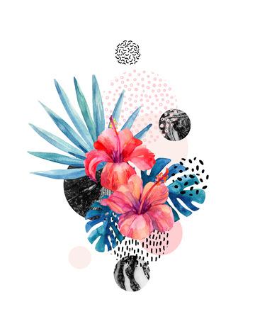 大理石の幾何学的背景上の水彩画熱帯の花、落書きテクスチャ。手描きの花とファンのヤシ、モンステラの葉、最小限のスタイルで幾何学的な形状 写真素材