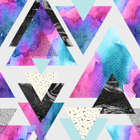 Abstract watercolor geometric seamless pattern. Triangles with watercolor, doodle, black marble textures. Geometrical background in minimal style. Hand painted art illustration Stock Photo