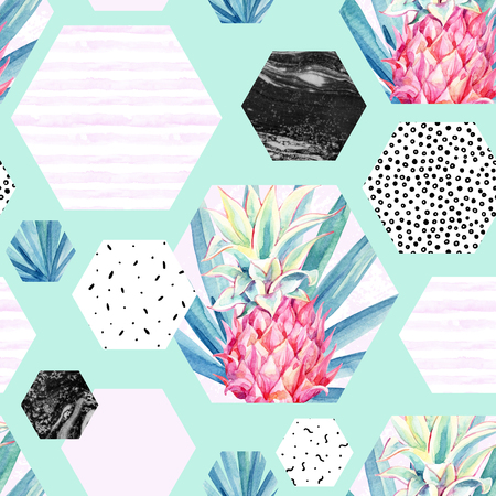 Abstract summer hexagon shapes seamless pattern: watercolour pineapple, palm leaf, marble, grunge textures, watercolor stripes. Geometric background in minimal style. Hand painted art illustration Stock Photo