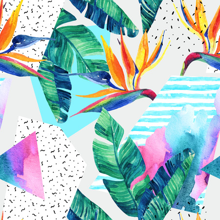 Abstract tropical summer design in minimal style. Watercolor exotic flowers, leaves, grunge textures, doodles seamless pattern. Water color background with 80s 90s elements. Hand painted illustration Banque d'images
