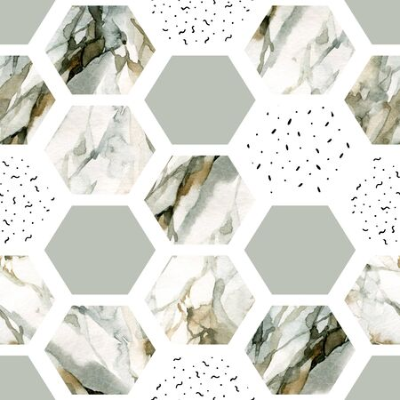 Abstract geometric seamless pattern on white background. Watercolor hexagon with stripes, water color marble, grained, grunge, paper textures, minimal elements. Hand painted natural illustration