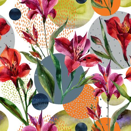 抽象的な花および幾何学的なシームレス パターン。水彩の装飾的な花や葉、水彩、最小限でいっぱい円図形の背景にテクスチャを落書き。手描きの
