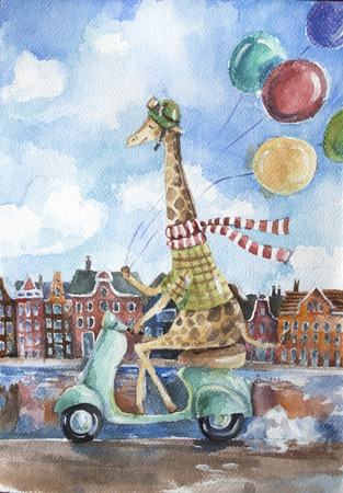 Cute giraffe driving retro scooter holding colorful balloons in one hand on european city landscape background. Hipster animal character. Watercolor nursery illustration. Hand drawn childish art