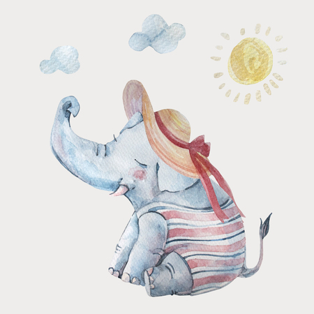 Cute baby elephant in swimsuite and large brimmed hat under sun isolated on background. Cartoon hipster animal character. Watercolor nursery illustration. Hand drawn childish art