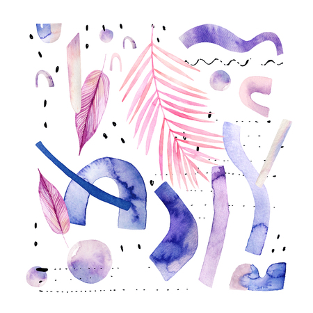 Abstract watercolor background with tropical, geometrical elements in minimal, bauhaus, hipster style. Water color exotic leaves, decorative shapes, lines, dots. Hand painted modern illustration