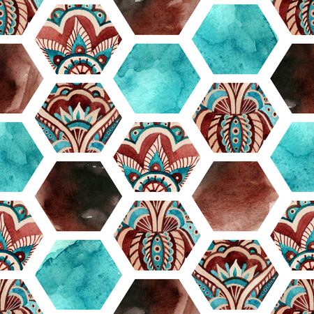 Abstract geometric seamless pattern on white background. Watercolor hexagon with water color paper textures and paisley ornament. Hand painted natural illustration Stock fotó