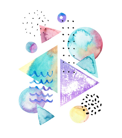 Drawing of geometric elements with watercolor, ink, doodle textures on background. Hand drawn geometrical shapes in bauhaus, memphis and hipster style. Watercolor art illustration for poster, header