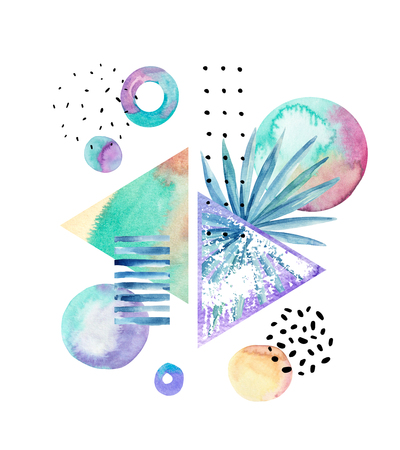 Drawing of geometric, floral elements with watercolor, ink, doodle textures on background. Hand drawn geometrical shapes, tropical leaf in bauhaus, memphis, hipster style. Watercolor art illustration