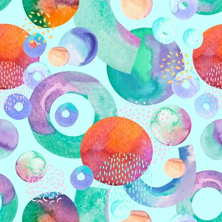 Artistic seamless pattern: geometric shapes - circles, arcs, rings, minimal grunge elements, doodle. Hand painted watercolor illustration for abstract design. Art watercolour background Reklamní fotografie