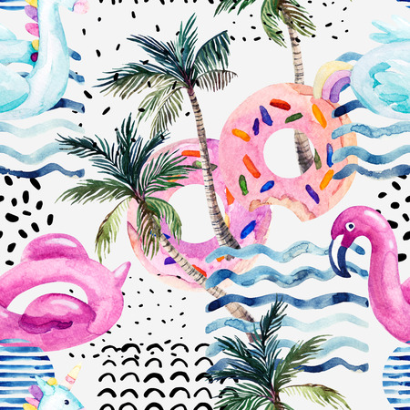 Watercolor seamless pattern with cartoon pool floats, palm trees in minimal style. Water color flamingo pool float, donut lilo floating on 80s 90s background. Hand painted summer holiday illustration