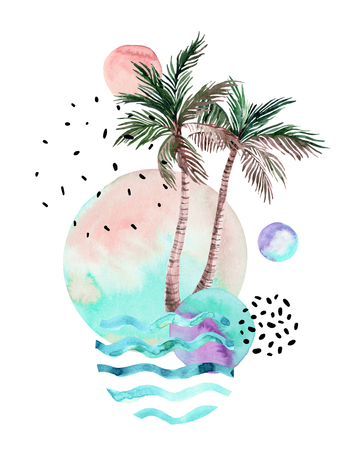 Abstract drawing of watercolor round stains, stripes, palm trees. Hand drawn geometrical, tropical, doodle elements background in modern graphic style. Watercolor art illustration for poster, header