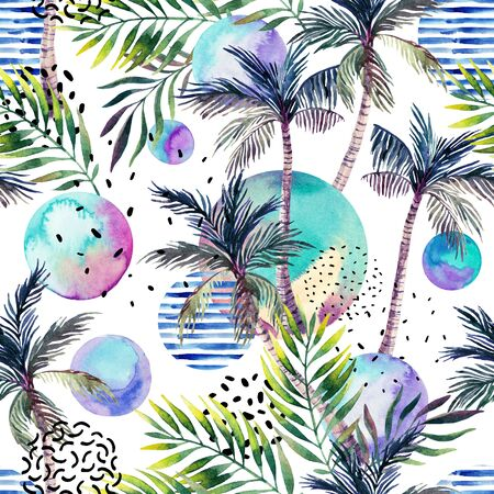 Abstract summer background. Watercolor art illustration: palm tree, doodle, grunge textures, geometric, minimal elements. Geometric, natural design. Hand painted seamless pattern for tropical design Zdjęcie Seryjne