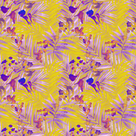 Watercolor silhouette of tropical leaves, colorful staines seamless pattern. Watercolour leaf painting in retro color. Hand painted illustration for summer design on paint splatter textured background