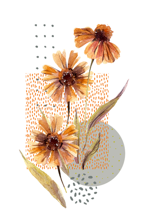 Abstract floral and geometric background. Watercolor flowers, leaves, circle, square shapes, minimal doodle textures. Hand painted autumn illustration for fall flyer, header, banner, template design