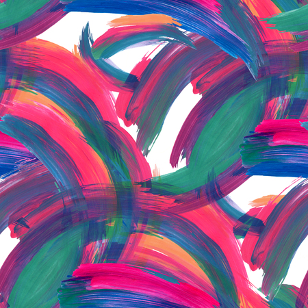 Abstract colorful brushstrokes background. Acrylic paint seamless pattern. Hand painted illustration for modern fabric, textile, backdrop etc design