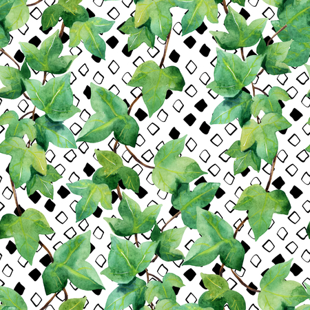Watercolor ivy seamless pattern. Green ivy branches on rhombic background. Floral and geometric shapes. Hand painted floral illustration Stock Photo