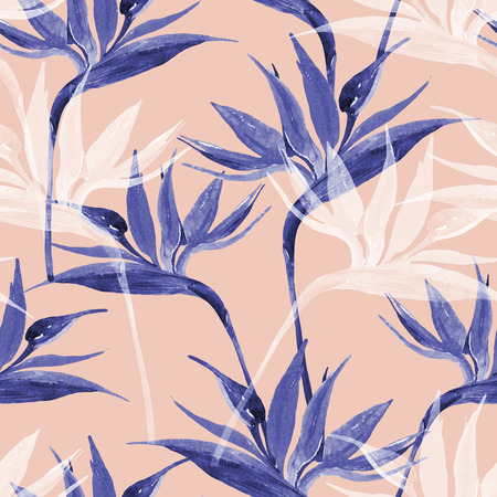 Unusual watercolor tropical seamless pattern with bird-of-paradise flower. Exotic flowers in monochrome colors, transparent on pastel background. Art illustration with water color texture