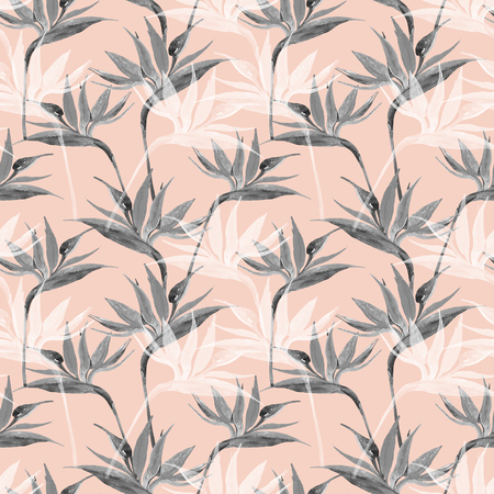 Unusual watercolor tropical seamless pattern with bird-of-paradise flower. Exotic flowers in monochrome colors, transparent on pastel background. Art illustration with water color texture Stock fotó - 109095216