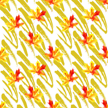 Rough grunge brushstrokes and watercolor maple leaves seamless pattern. Simple art design for fall background, fabric, textile