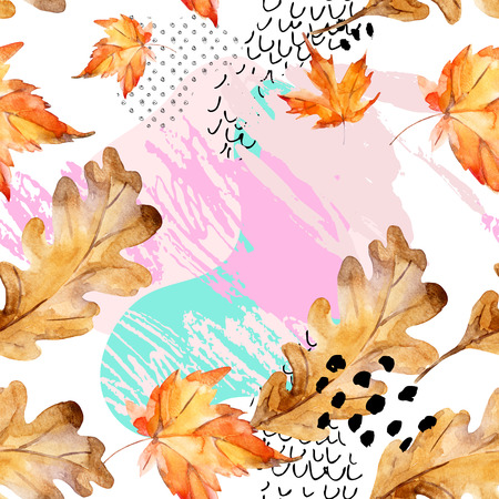 Abstract seamless pattern of autumn oak, maple leaves, fluid shapes, minimal grunge element, doodle. Watercolor illustration in bauhaus, memphis style. Art design for fall background, fabric, textile