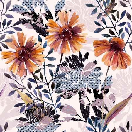 Autumn background. Abstract floral seamless pattern. Watercolor flowers, leaves, tree branches filled with minimal doodle textures. Hand painted illustration for fabric, textile, wrapping design