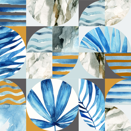 Abstract geometric seamless pattern: tropical leaves, waves, stripes, semicircles, circles, squares, grunge, grained, paper, marble, watercolor textures, doodles. Hand painted summer illustration