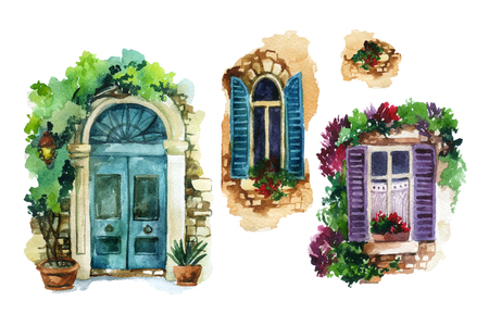 Watercolor traditional old-fashioned door and windows with potted flowers, brick stones, lantern. Stock Photo