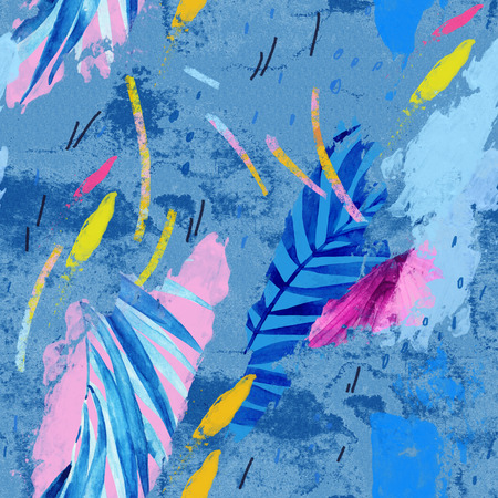 Modern illustration with tropical leaves, grunge, watercolor textures, rough brush strokes, minimal elements. Creative seamless pattern in bright summer colors. Exotic leaves on abstract background.