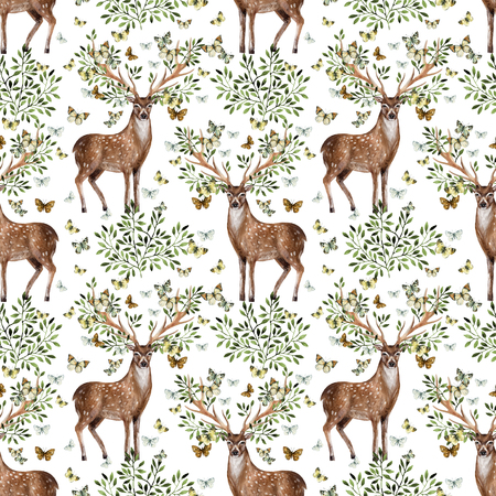Hand painted watercolor deer antlers with leafs, branches, butterfly on white background. Animal art illustration for invitation, wedding, greeting cards. Wildlife seamless pattern for hipster design